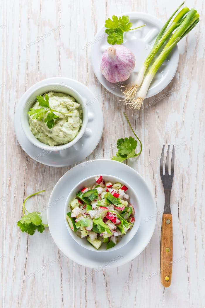 Radish salad with cucumber and onion with delicious avocado dip