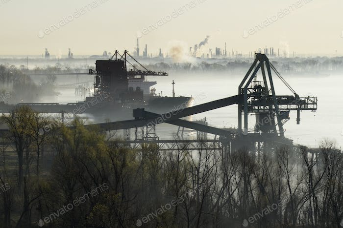 Cargo Ship and Coal Conveyor