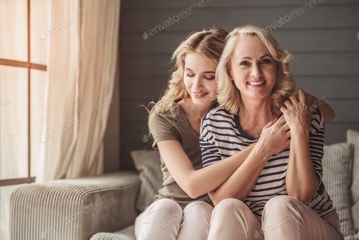 Senior mum and adult daughter