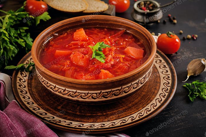 Traditional Ukrainian Russian borscht or red soup on the  bowl.