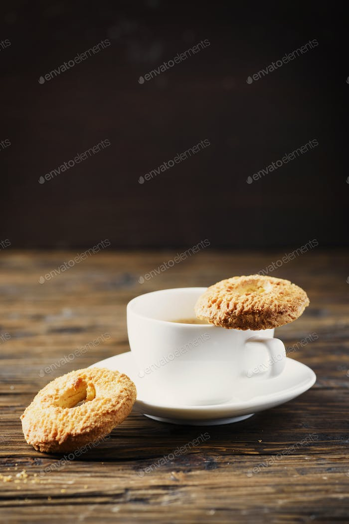 Sweet homemade cookies and cup of coffee