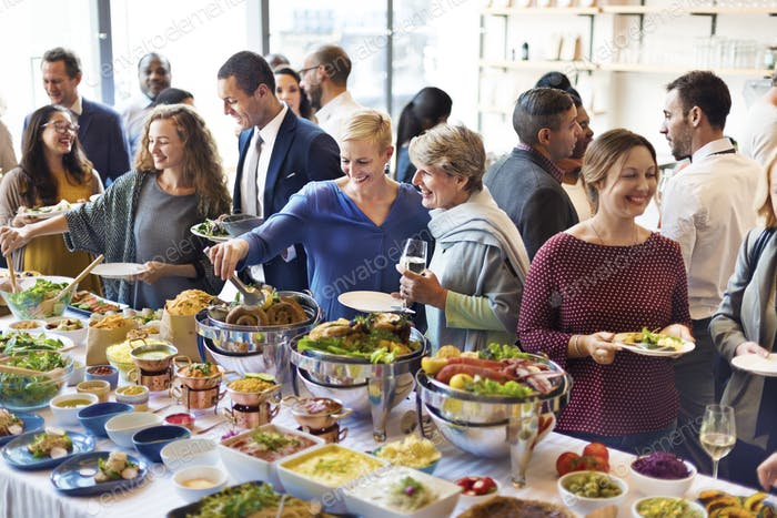 Diversity People Enjoy Buffet Party Concept
