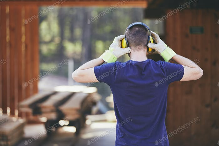 Man working in sawmill