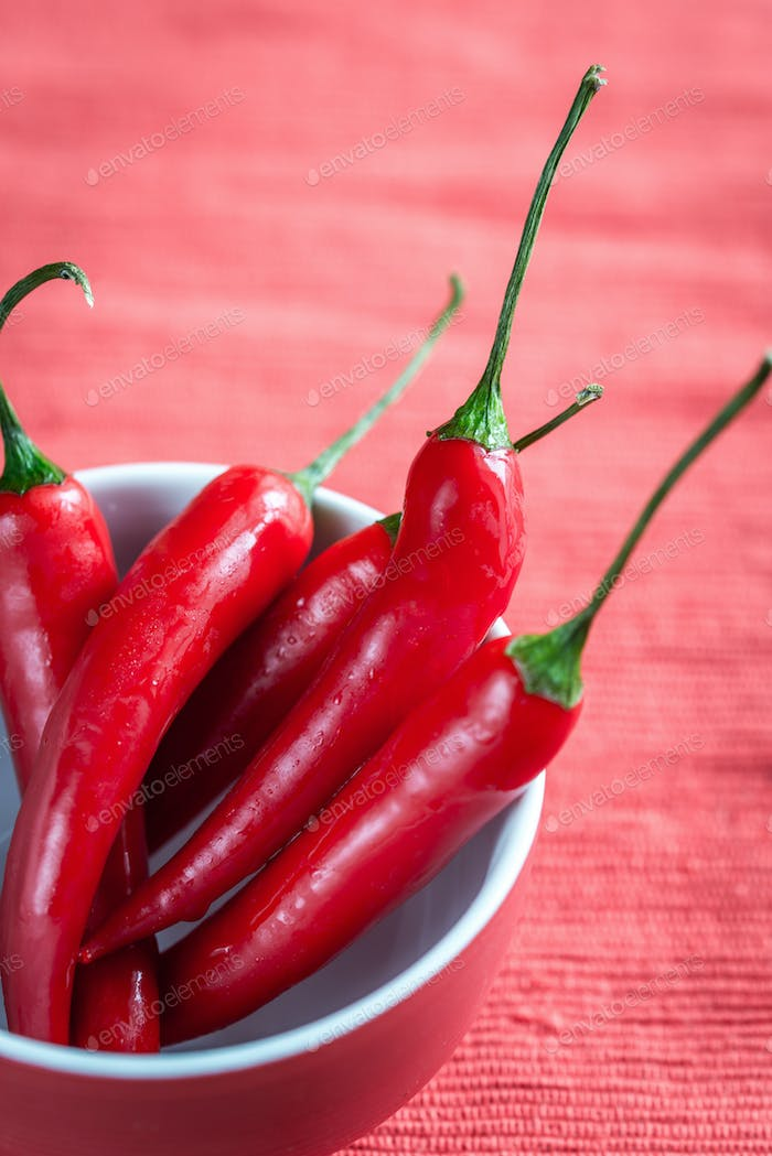Bowl of fresh red chili peppers