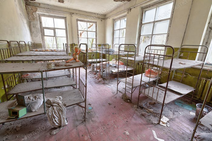 Ruined room in kindergarten in Chernobyl.