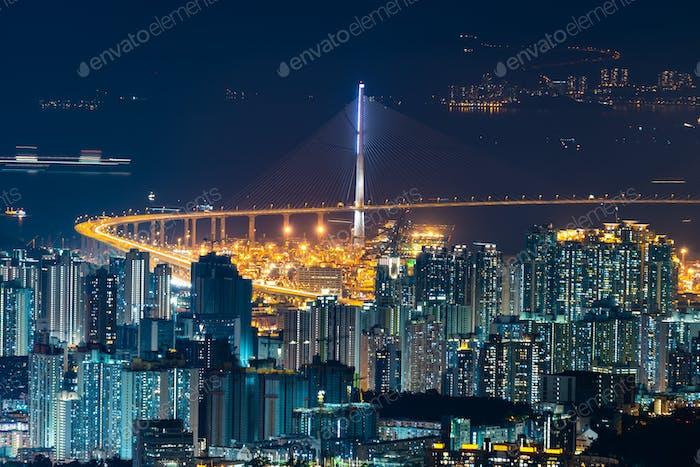 Hong Kong, China - August, 2019 :  Hong Kong cityscape at night, sky scraper building