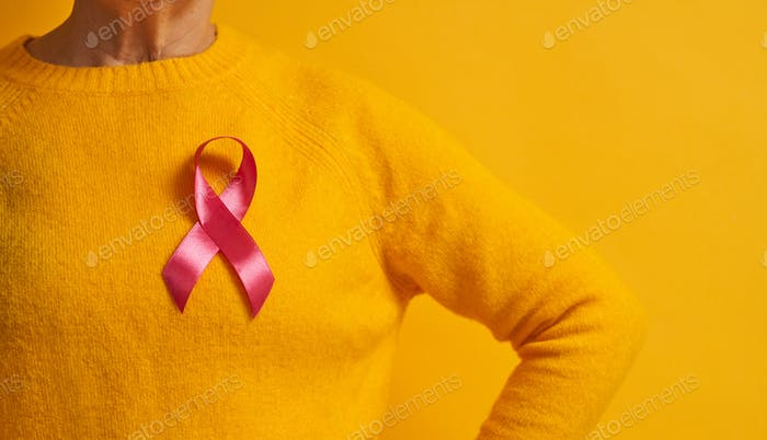 Pink ribbon like a symbol of breast cancer awareness