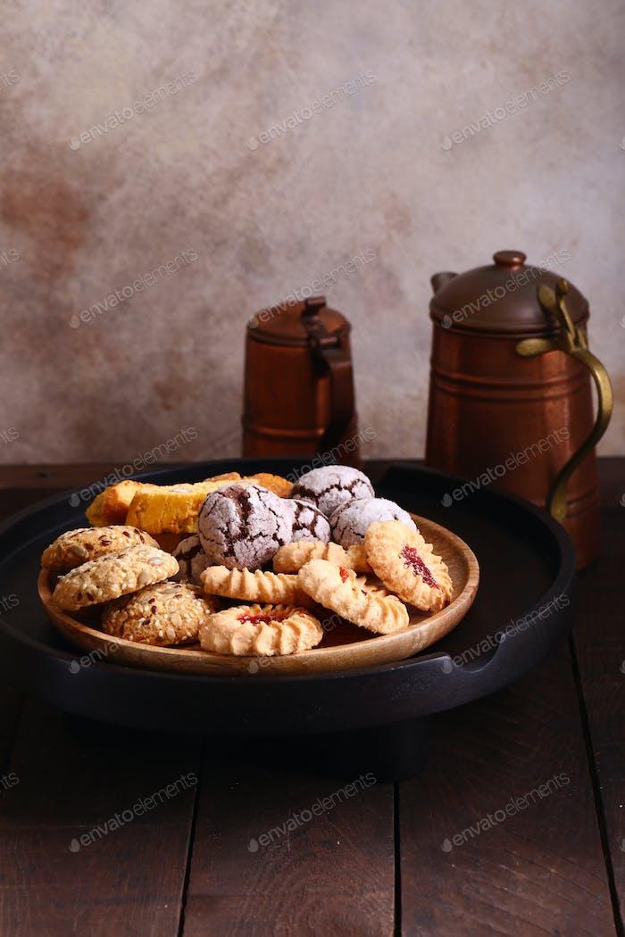 Verschiedene süße Gebäck Kekse