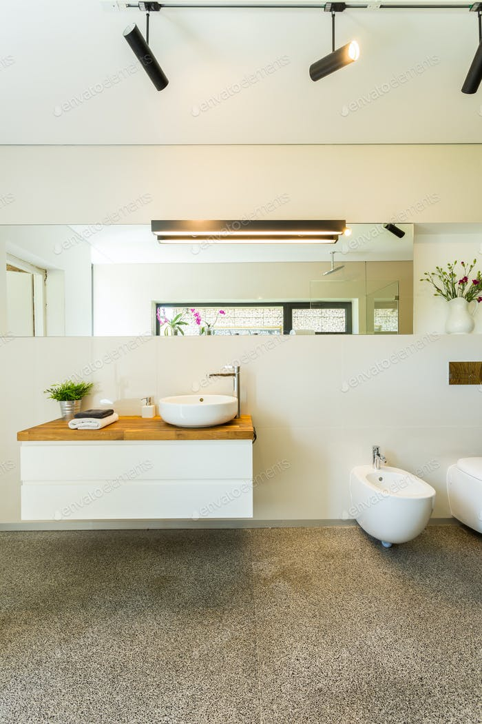 Spacious modern bathroom with mirror