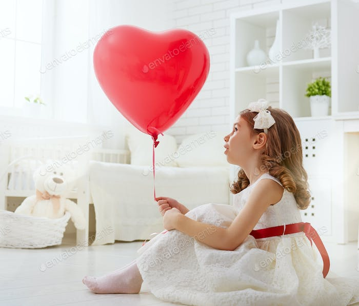 girl with red heart.