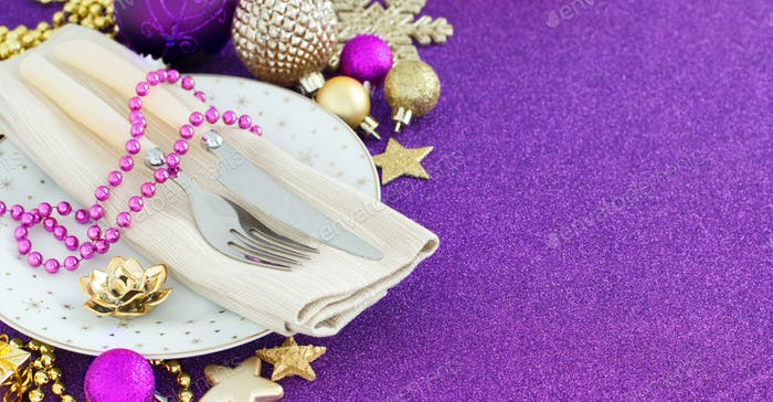 Golden and purple Christmas Table Setting