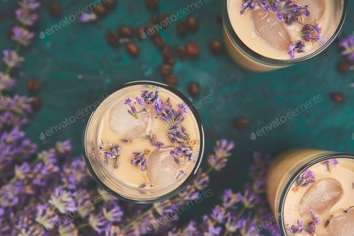 Summer drink iced coffee with lavender