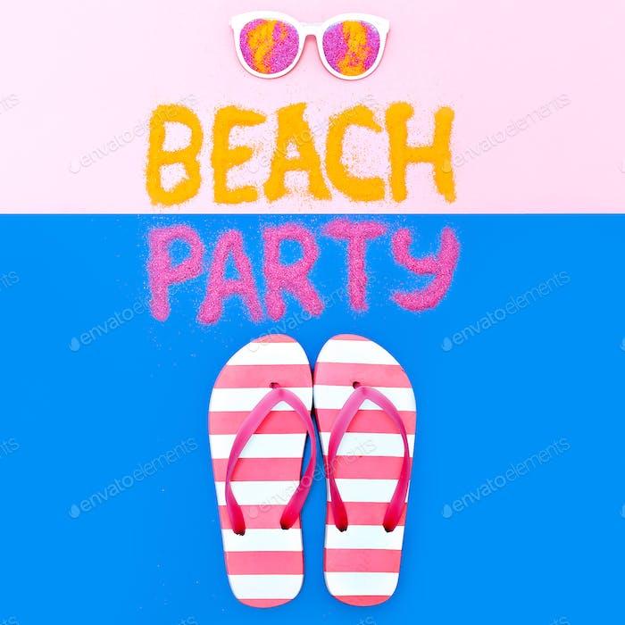 Beach Party Vacation Set Flip flops Minimal Fashion Art
