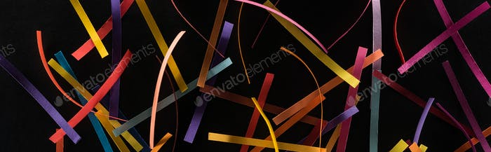 Multicolored Abstract Lines Scattered Isolated on Black Background, Connection