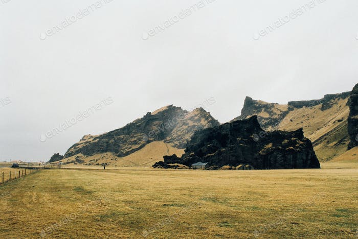 Huge Volcanic Rock in Icelandic Field