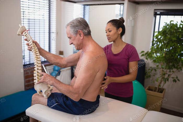 Shirtless male patient holding artificial spine while female therapist examining back