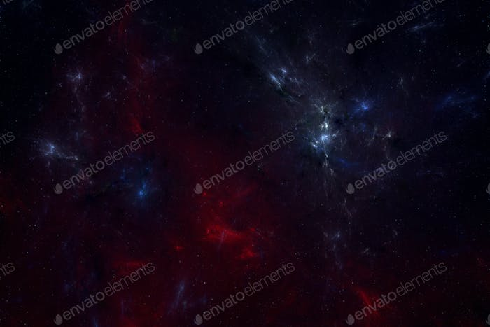 Space background with blue and red nebula