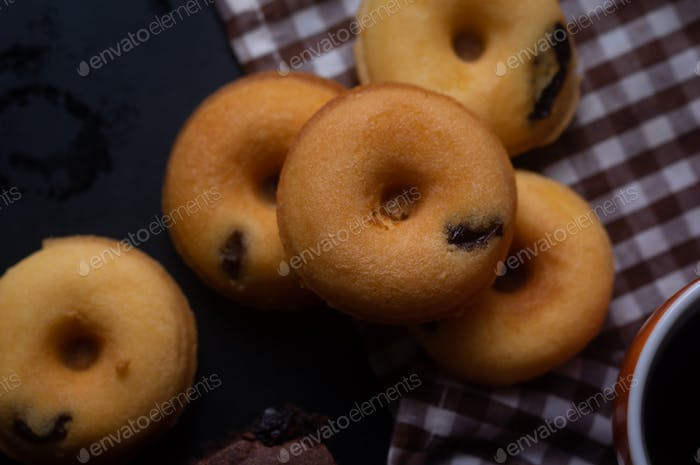Close-up view of mini donuts