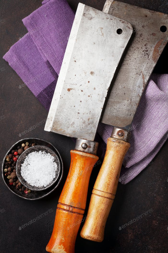 Butcher. Vintage meat knives and spices