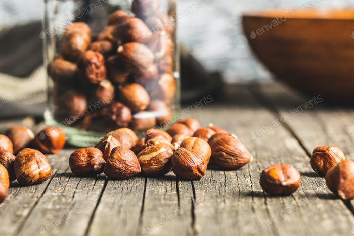 Peeled hazelnuts.