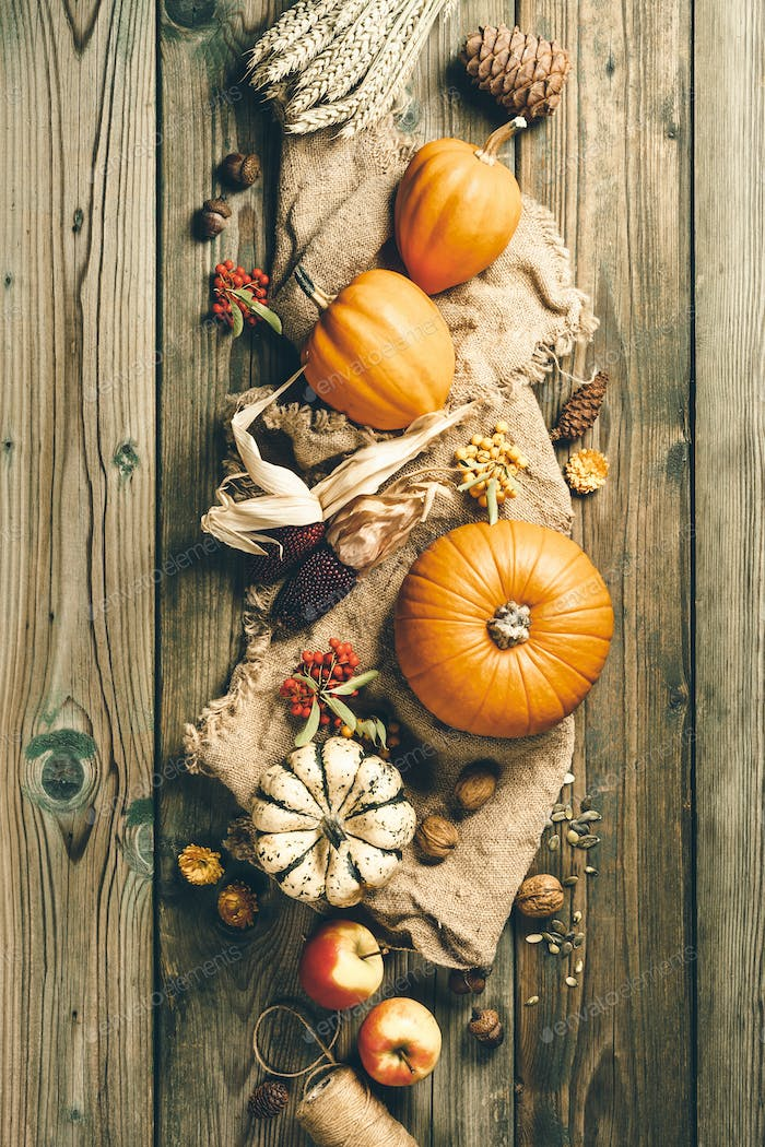 Autumn background. Thanksgiving, harvest, halloween concept flat lay top view