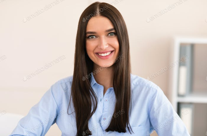Young Business Lady Smiling To Camera Standing Posing In Office