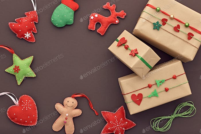 New Year background decoration. Design Gift boxes