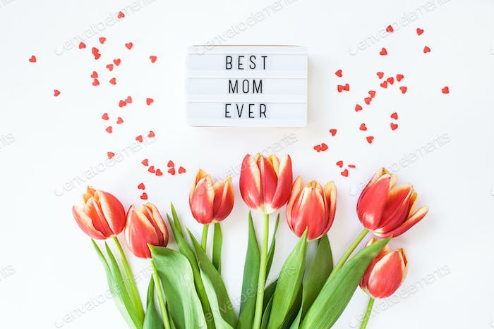 Mothers Day greeting card with red tulip flowers