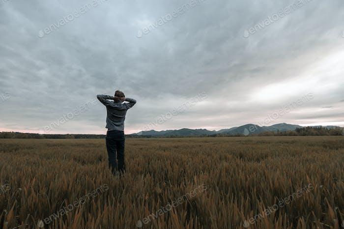 Blick von hinten auf einen Mann, der in goldener Herbstwiese steht