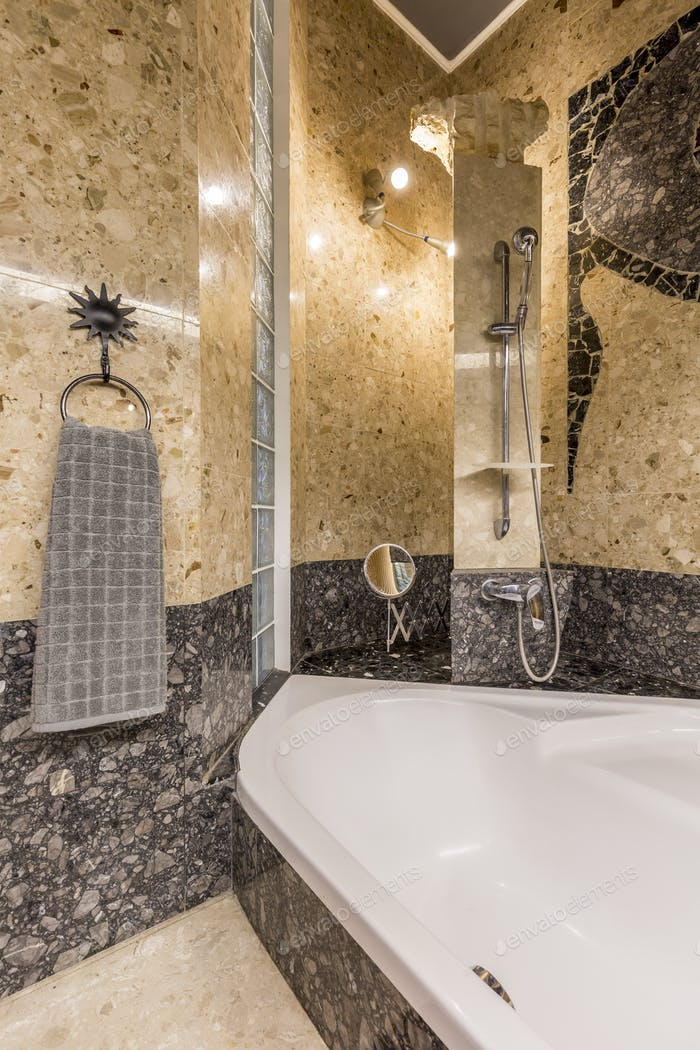 Ethnic bathroom in gold and grey