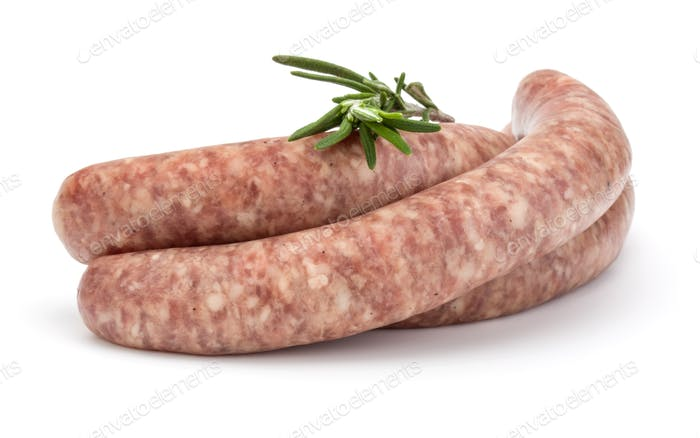 Raw sausage with rosemary leaf isolated on white background