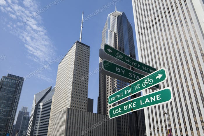 53809,Close up of road signs on Chicago city street, Chicago, United States