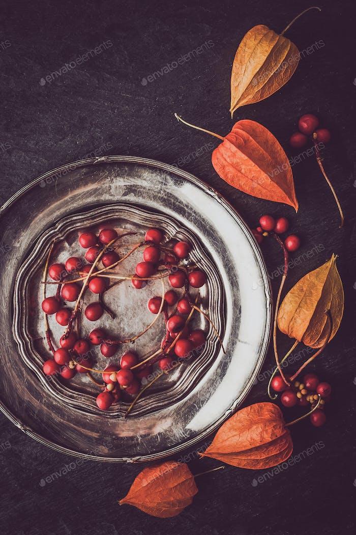 Rote Beeren in der Vintage-Metallplatte mit Physalis vertikal