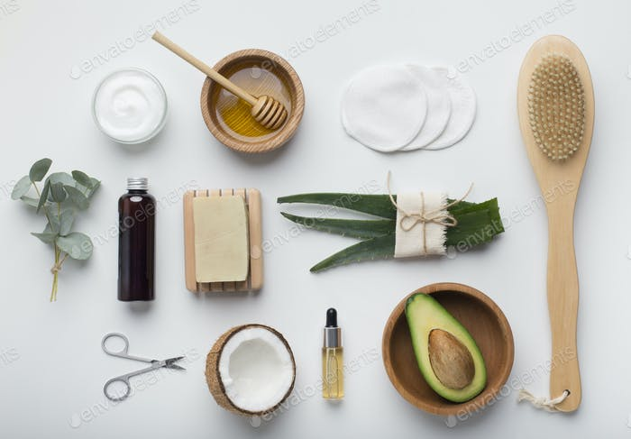 Natural set of healthy handmade cosmetics on white