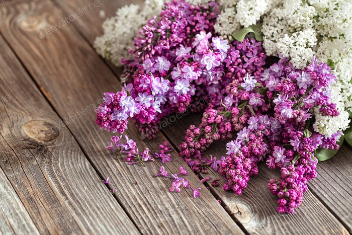 Background of lilac blooming on a wooden background.