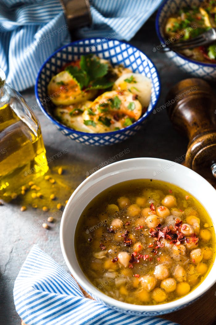 Greek chickpea soup Revithia on the stone background  top view