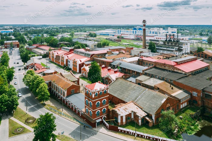 Dobrush, Gomel Region, Belarus. Aerial View Of Old Paper Factory