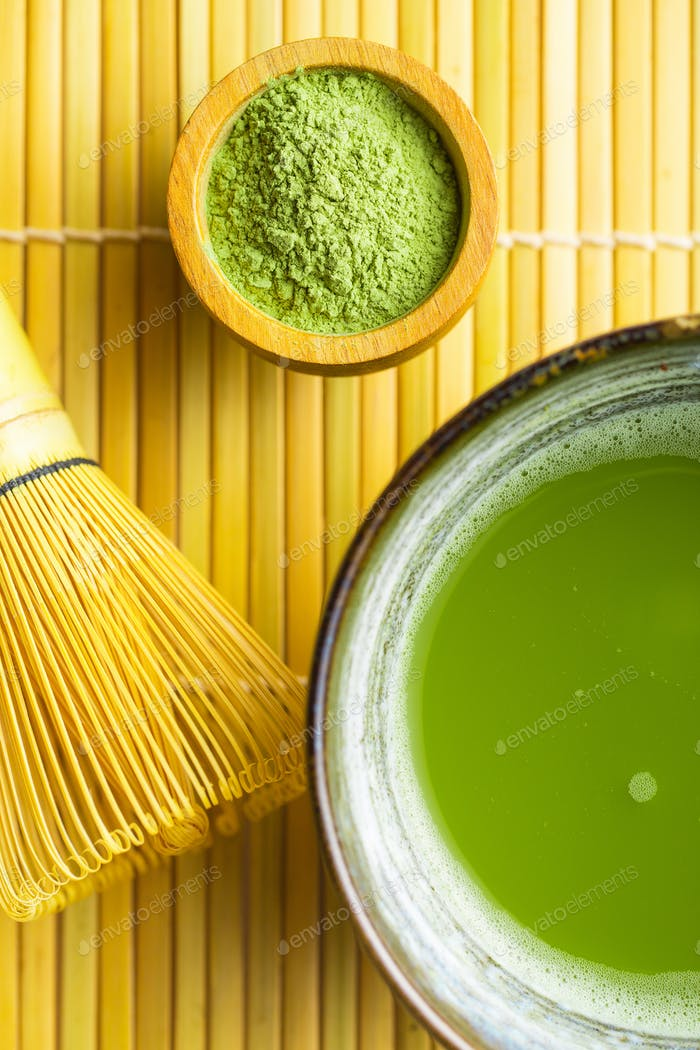 Grüner Matcha-Tee.
