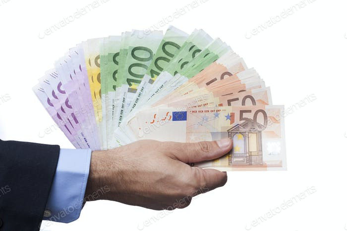 Holding Euro Banknotes on White