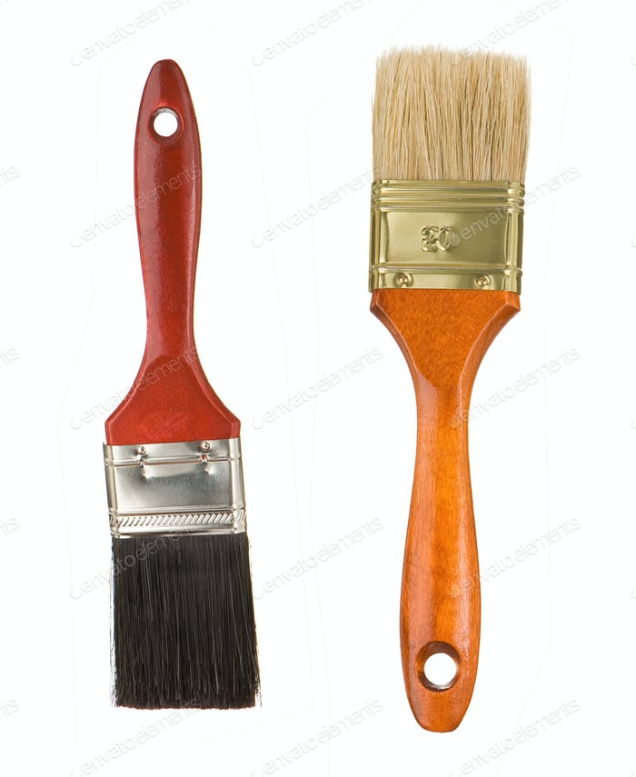 wooden red paintbrushes isolated on white