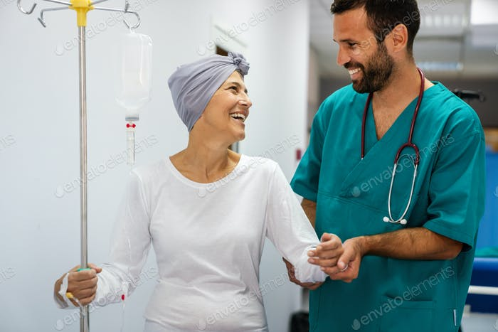 Woman with cancer during chemotherapy recovering from illness in hospital
