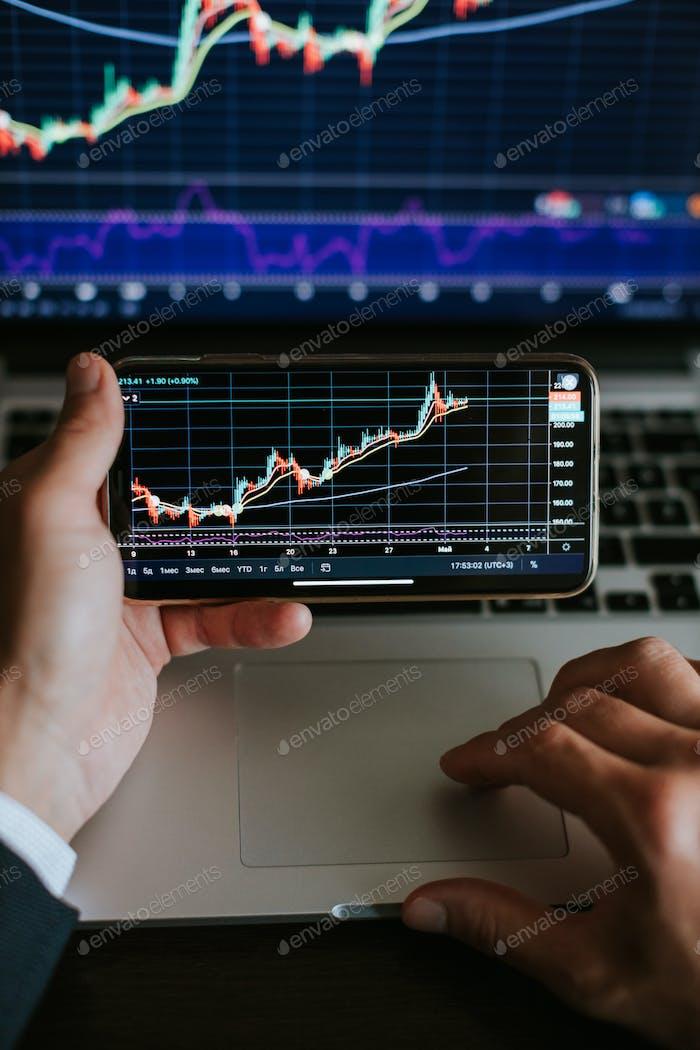 análisis de beneficios de corredor de bolsa en gráfico comercial con candelabros