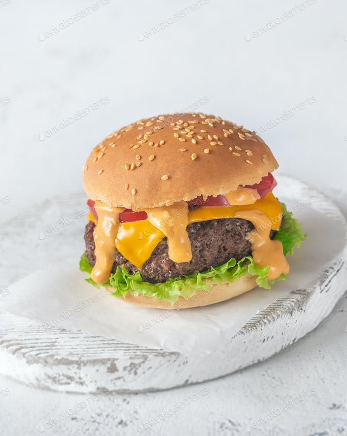 Hamburger on the wooden board