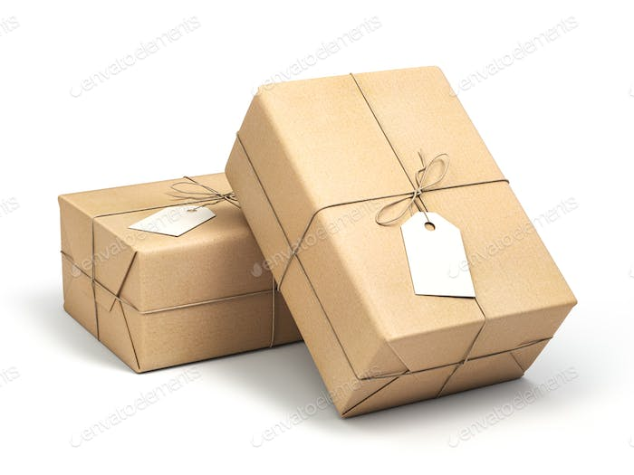 Parcel packaging box wrapped with craft paper with blank label isolated on white.