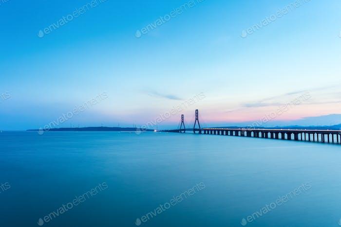 poyang lake second bridge in sunset
