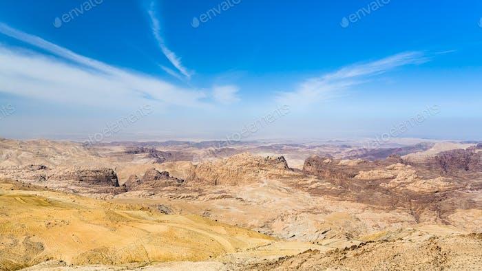 sky over sedimentary rocks around Wadi Araba