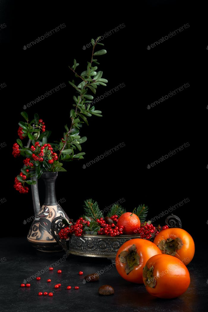 Still Life With Persimmon And Berries