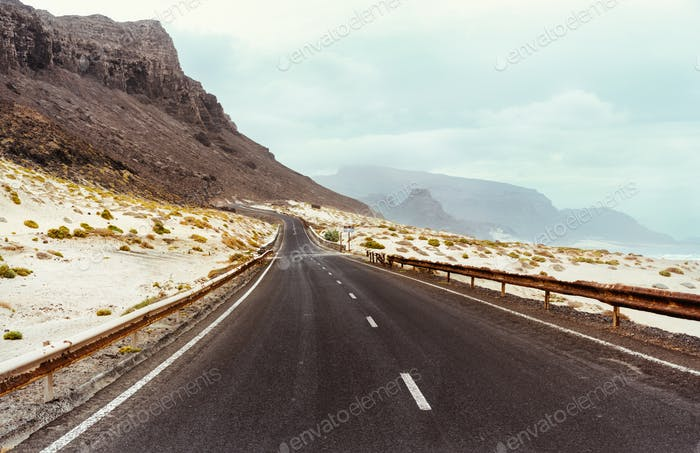 Calhau, Sao Vicente Island Cape Verde. Road along breathtaking volcanic landscape and atlantic ocean