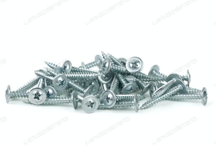 Pile of galvanized screws