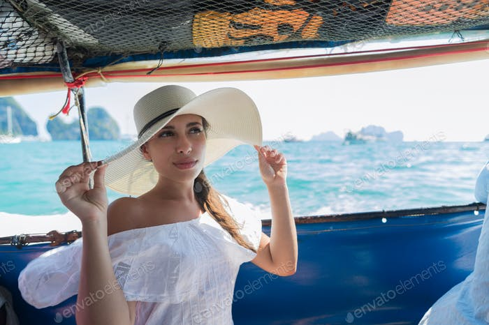 Attractive Young Caucasian Woman Sit On Boat Wear Hat Girl Swim Ocean Sea Water Holiday